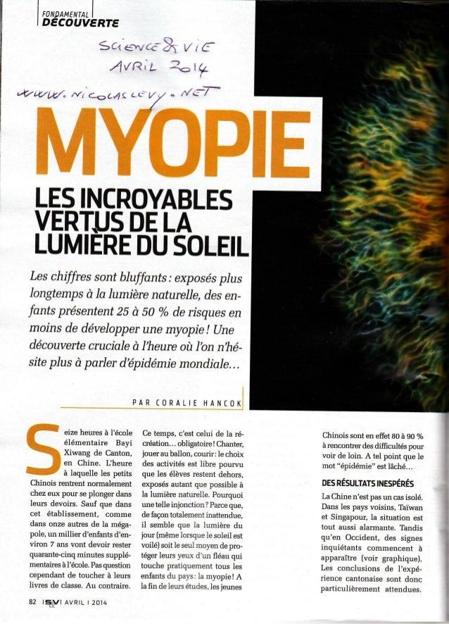 Myopie et soleil science et vie avril 2014