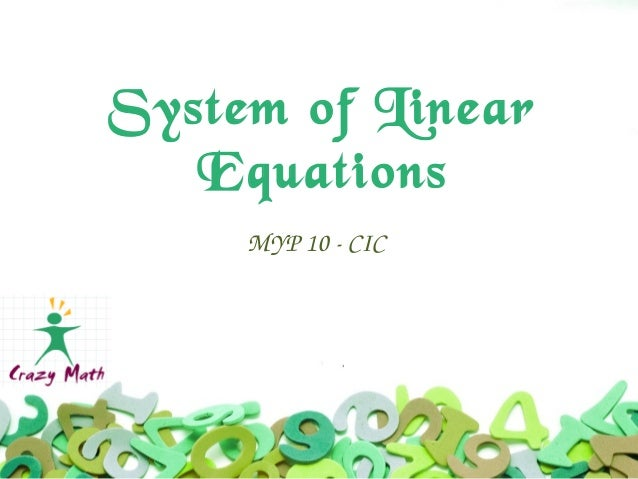 Myp10 system of linear equations with solution