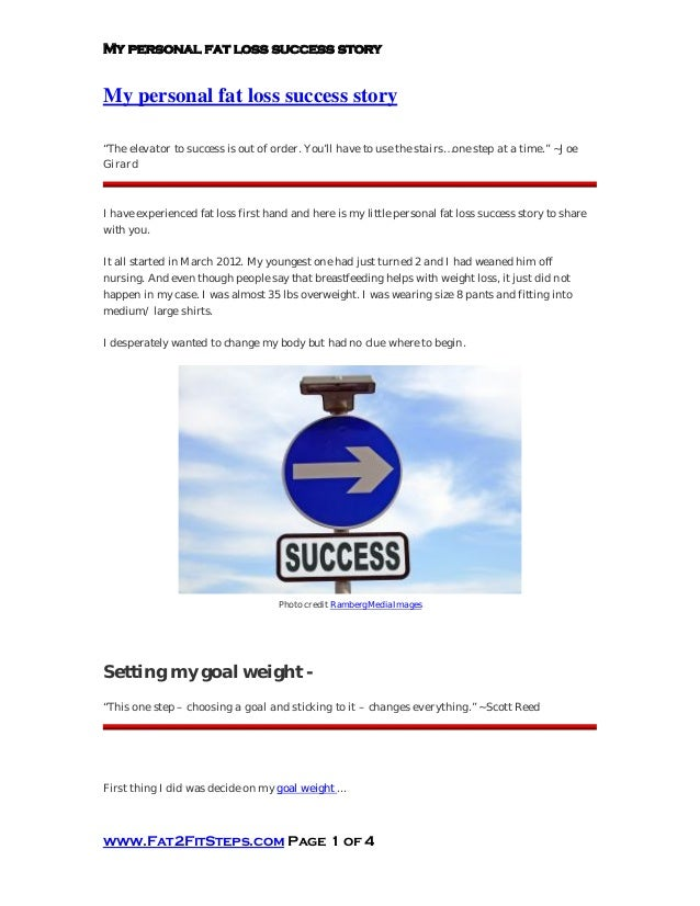 My personal fat loss success story