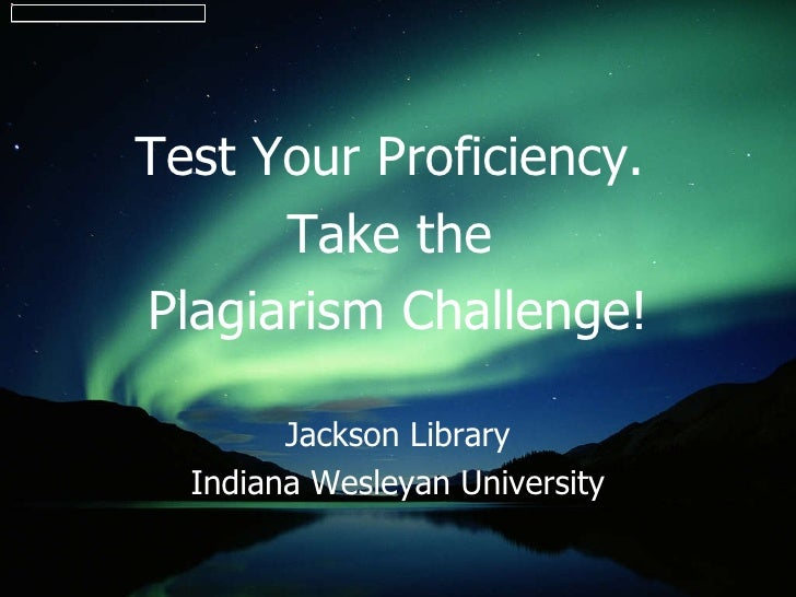 Plagiarism Self-Test