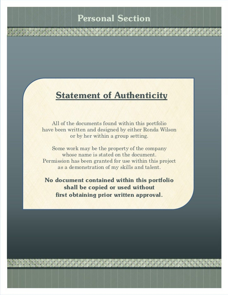 My portfolio for Statement of authenticity template