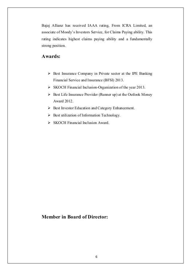 Working Capital Management In Bajaj Allianz Life Insurance