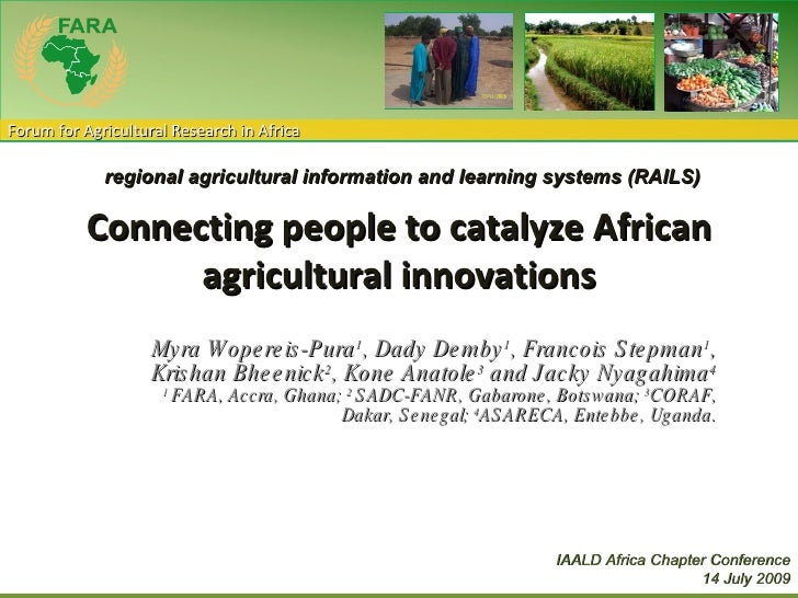 Connecting people to catalyze African agricultural innovations