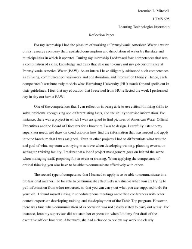 Reflection sample essay