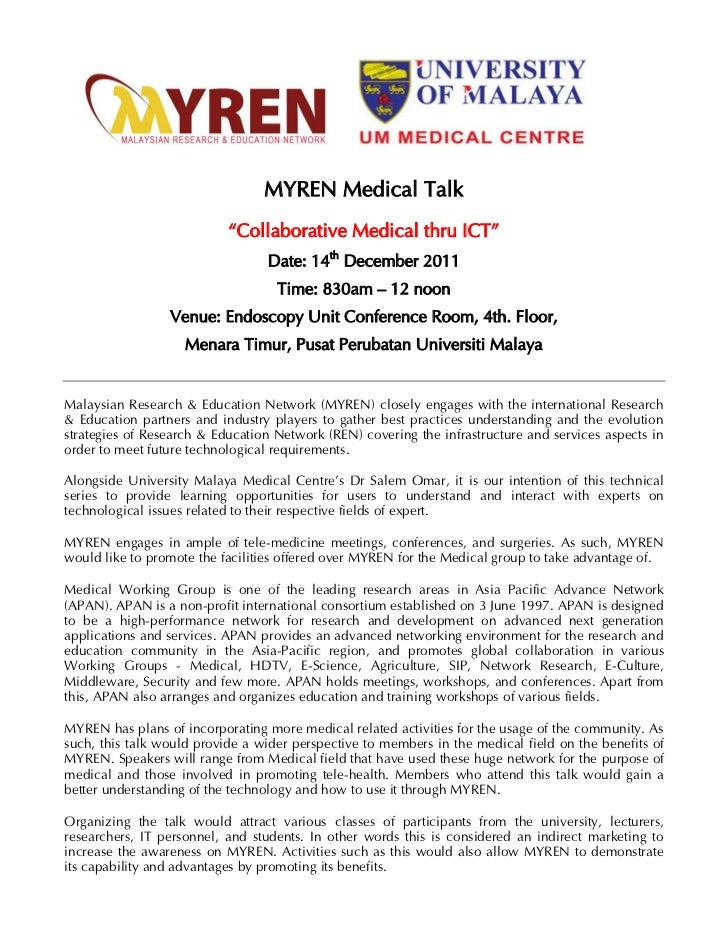 "MYREN Medical Talk                           ""Collaborative Medical thru ICT""                                 Date: 14th D..."