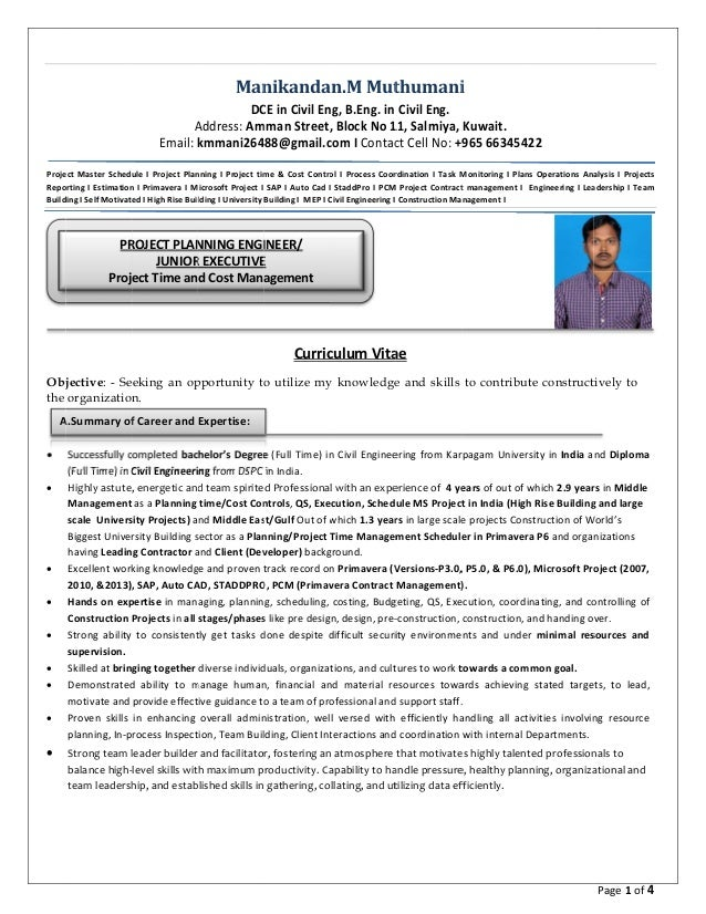 my resume project planning engg