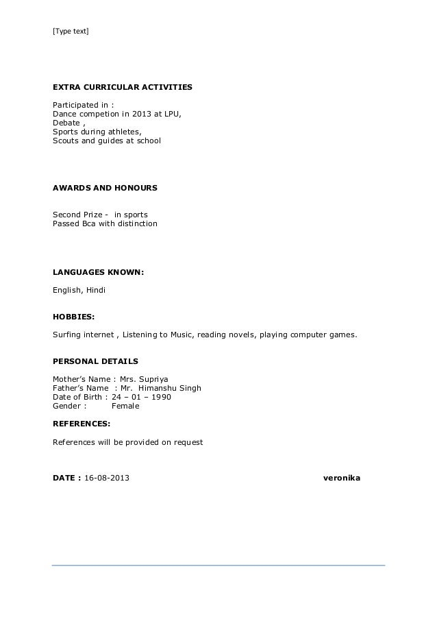 text resume format