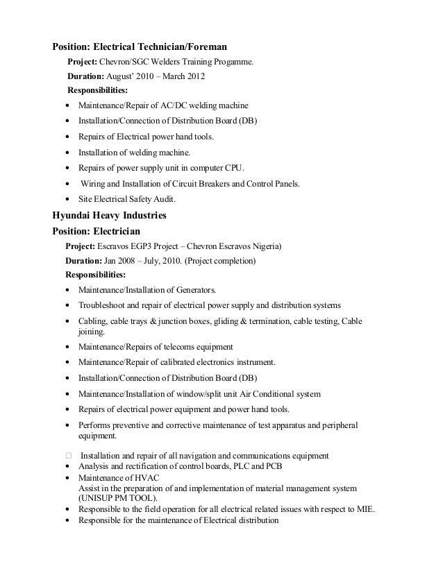 electrical supervisor resume