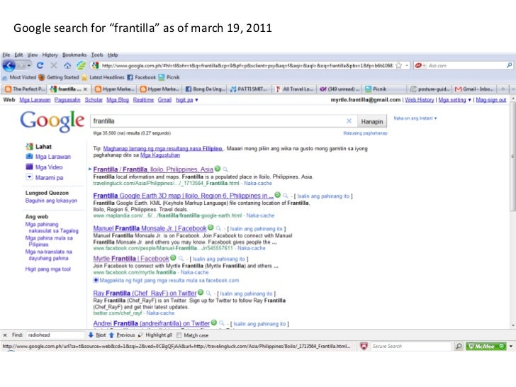 """Google search for """"frantilla"""" as of march 19, 2011<br />"""