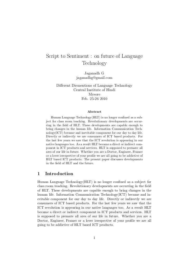 Script to Sentiment : on future of Language                     Technology                                 Jaganadh G     ...