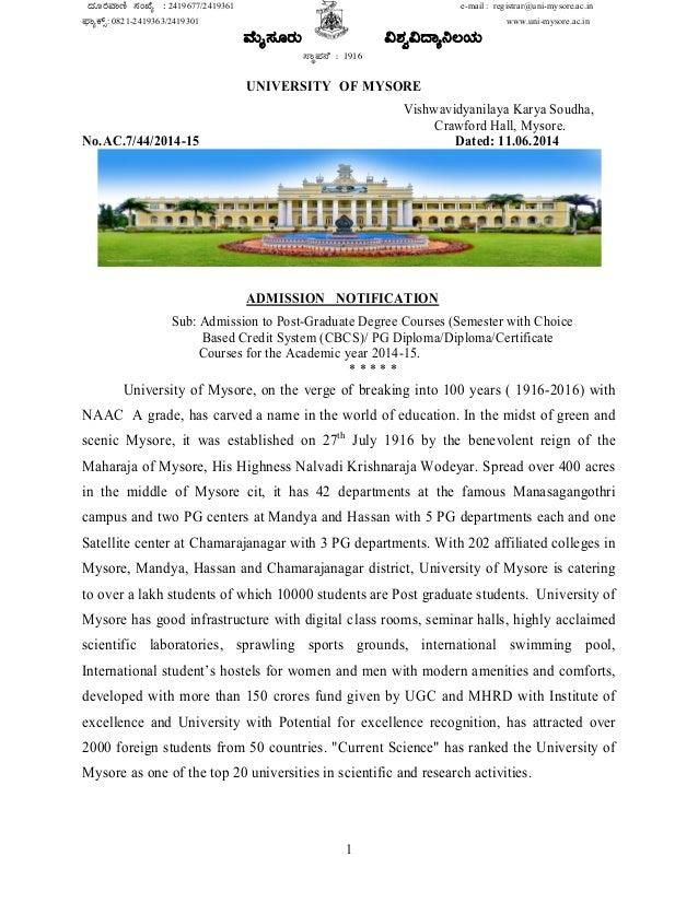 1 zÀÆgÀªÁt¸ÀASÉå : 2419677/2419361 e-mail : registrar@uni-mysore.ac.in ¥sÁåPïì: 0821-2419363/2419301 www.uni-mysore.ac.i...