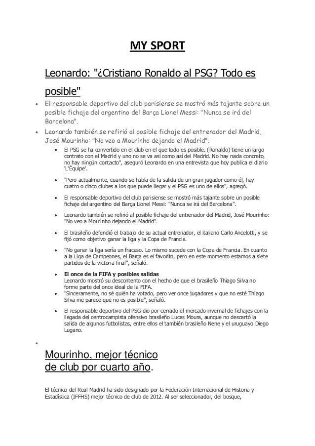 """MY SPORTLeonardo: """"¿Cristiano Ronaldo al PSG? Todo esposible""""El responsable deportivo del club parisiense se mostró más ta..."""