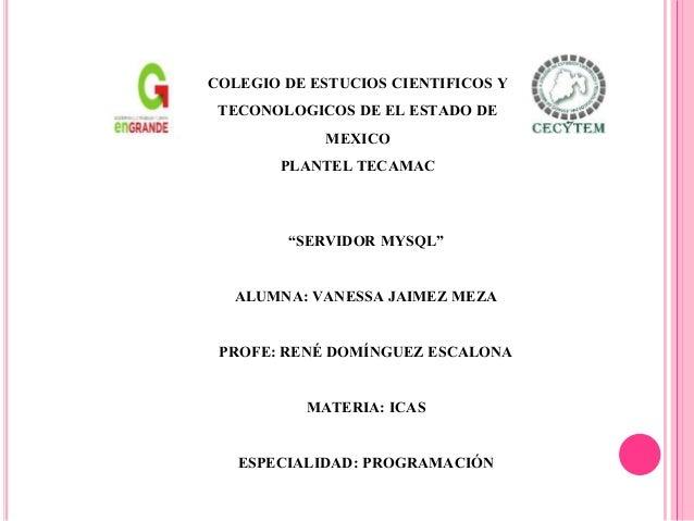 """""""SERVIDOR MYSQL"""" ALUMNA: VANESSA JAIMEZ MEZA PROFE: RENÉ DOMÍNGUEZ ESCALONA MATERIA: ICAS ESPECIALIDAD: PROGRAMACIÓN COLEG..."""
