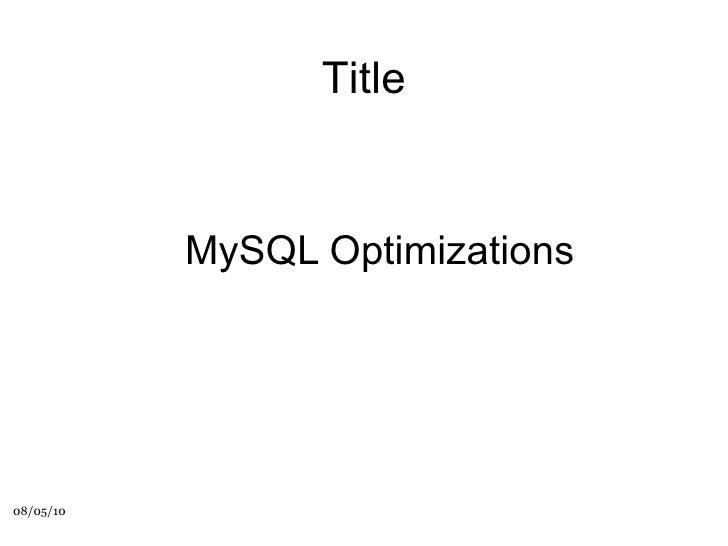 MySQL Optimizations Title