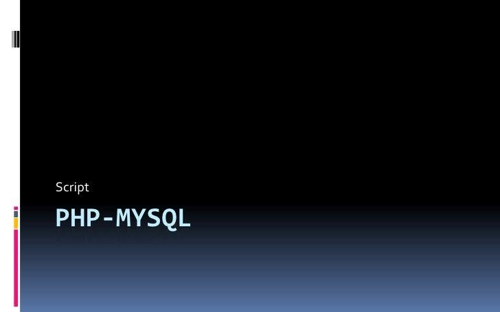 Mysql Script
