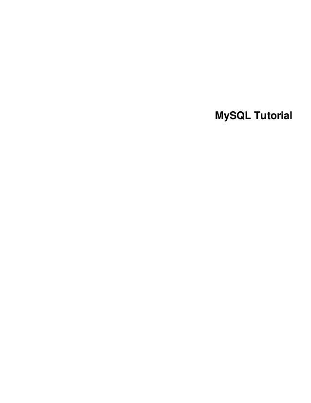 Mysql tutorial-excerpt-5.1-en