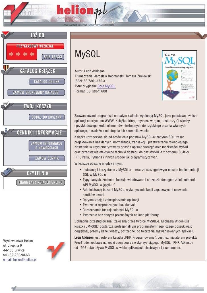 IDZ DO          PRZYK£ADOWY ROZDZIA£                             SPIS TRE CI   MySQL            KATALOG KSI¥¯EK           ...