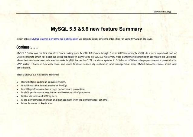 MySQL 5.5&5.6 new features summary