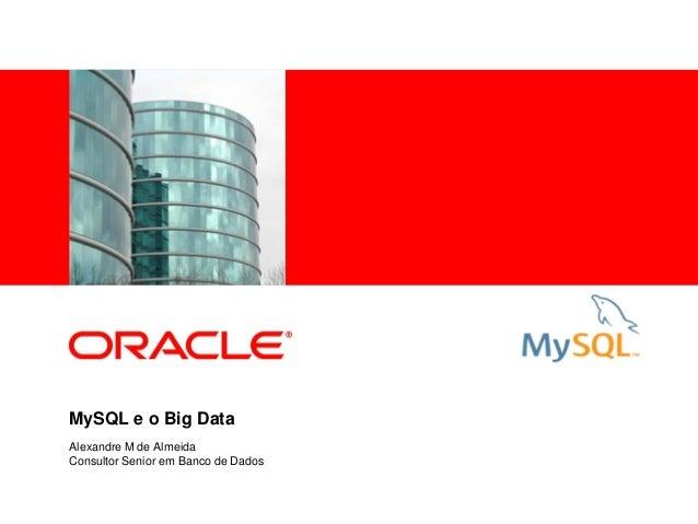 <Insert Picture Here> MySQL e o Big Data Alexandre M de Almeida Consultor Senior em Banco de Dados