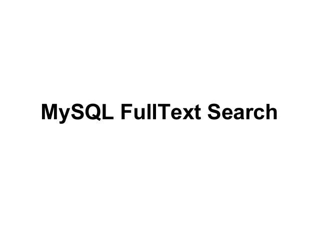 MySQL FullText Search