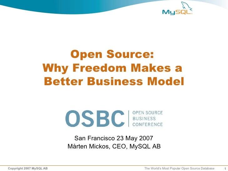"Mårten Mickos's presentation ""Open Source: Why Freedom Makes a Better Business Model"""