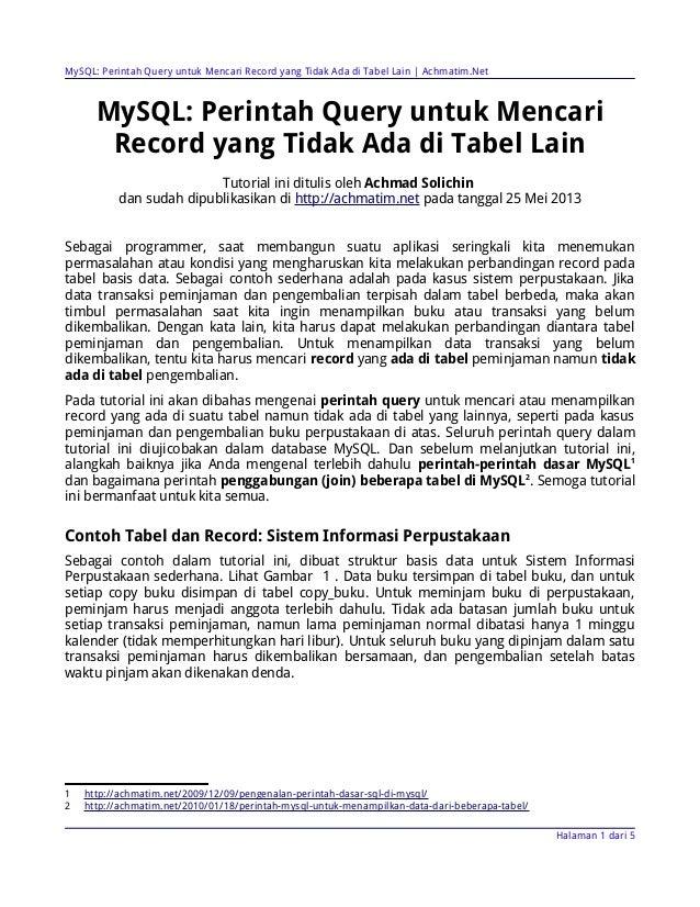 MySQL: Perintah Query untuk Mencari Record yang Tidak Ada di Tabel Lain (Achmatim.net)