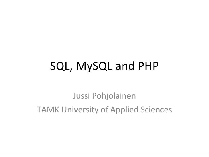 Short Intro to PHP and MySQL