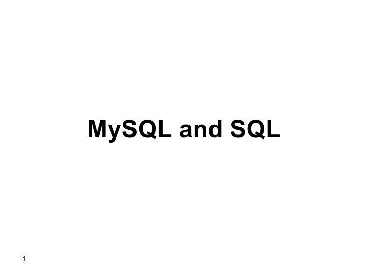 MySQL and SQL