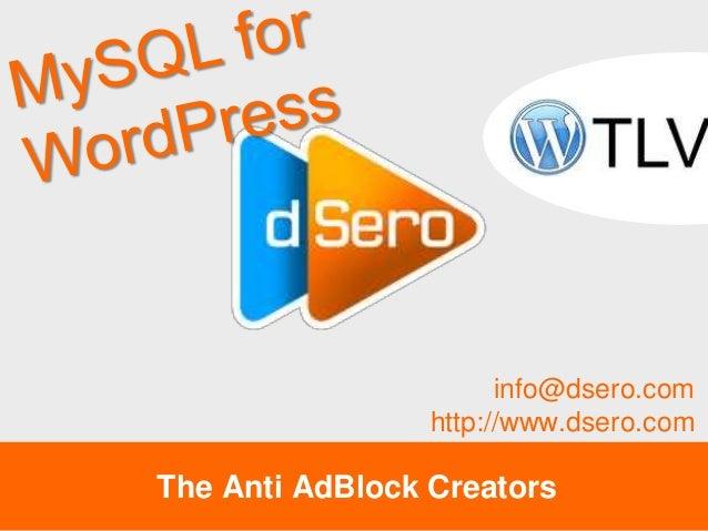 MySQL Tips for WordPress