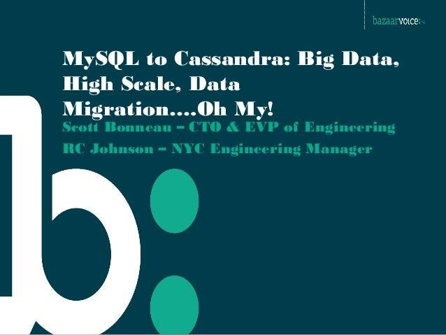 MySQL to Cassandra: Big Data, High Scale, Data Migration….Oh My! Scott Bonneau – CTO & EVP of Engineering RC Johnson – NYC...