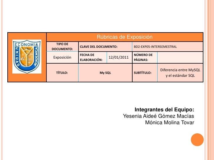 Integrantes del Equipo:<br />Yesenia Aideé Gómez Macías<br />Mónica Molina Tovar<br />