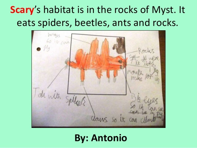 Scary's habitat is in the rocks of Myst. It eats spiders, beetles, ants and rocks.               By: Antonio