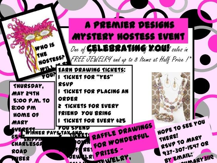 Mystery hostess invite for Premier designs hostess plan