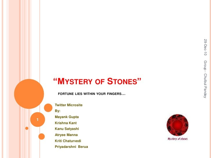"""Mystery of Stones""fortune lies within your fingers…<br />Twitter Microsite <br />By: <br />Mayank Gupta<br />Krishna Kant..."