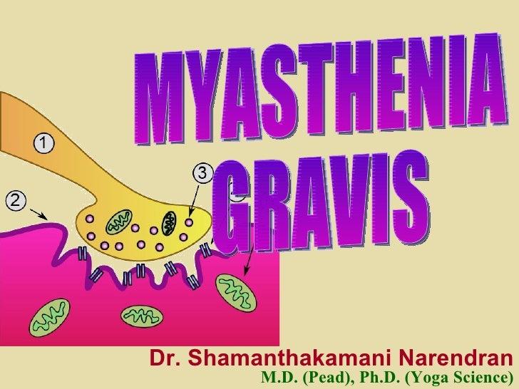 MYASTHENIA  GRAVIS Dr. Shamanthakamani Narendran M.D. (Pead), Ph.D. (Yoga Science)