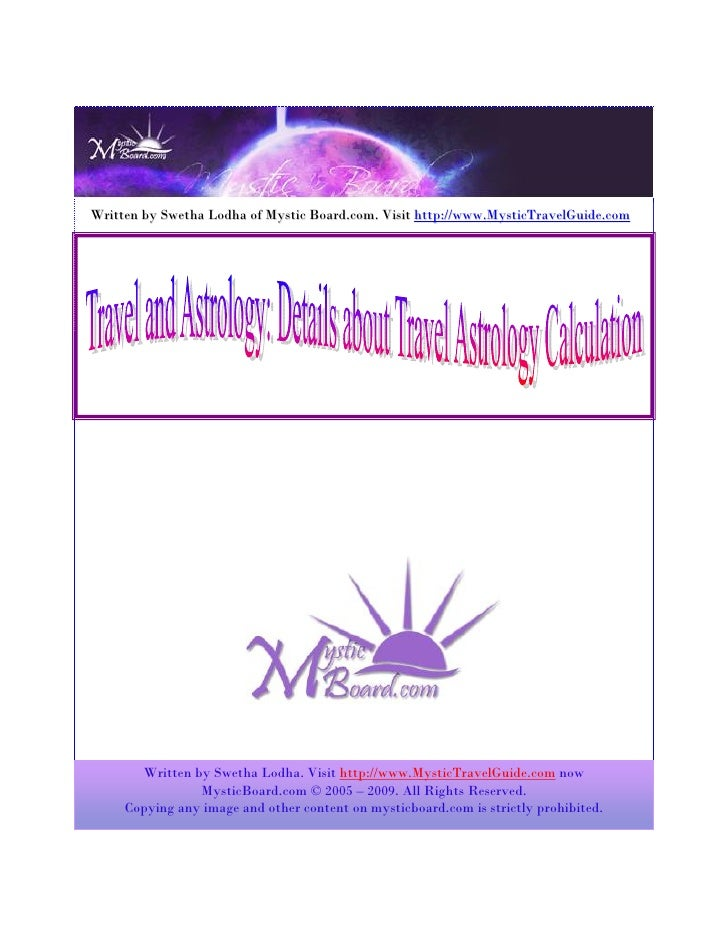 Mystic Travel And Astrology Details About Travel Astrology Calculation