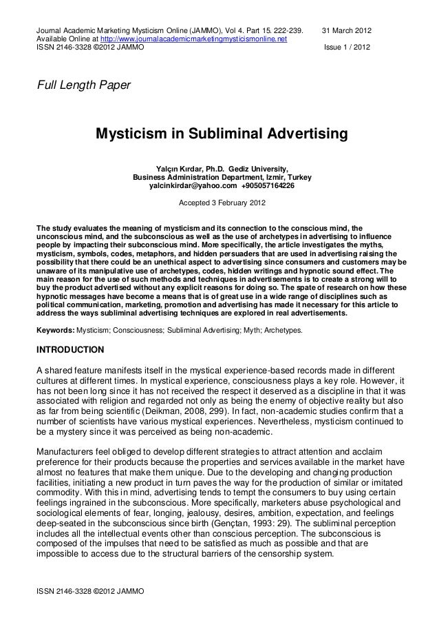 Journal Academic Marketing Mysticism Online (JAMMO), Vol 4. Part 15. 222-239. 31 March 2012 Available Online at http://www...