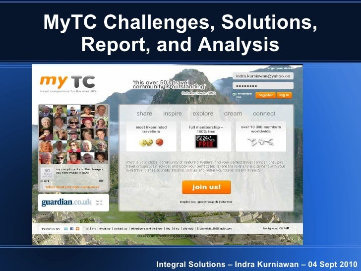 MyTC Challenges, Solutions, Report, and Analysis Integral Solutions – Indra Kurniawan – 04 Sept 2010