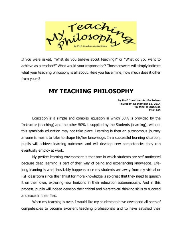 Philosophy of education essays