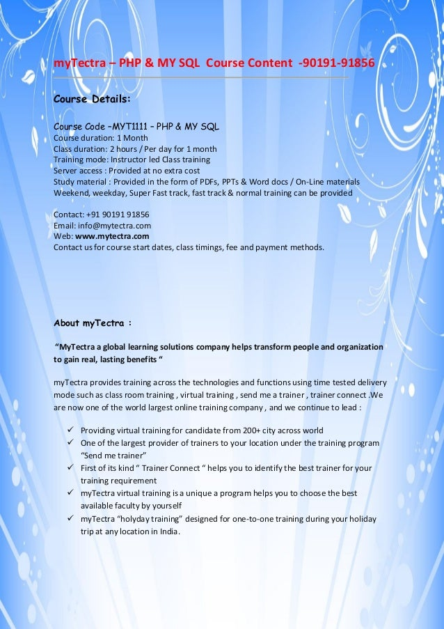 PHP & mySQL Training Course Content by myTectra,Bangalore,India