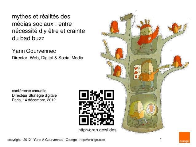 """mythes et réalités des   médias sociaux : entre   nécessité d""""y être et crainte   du bad buzz   Yann Gourvennec   Director..."""