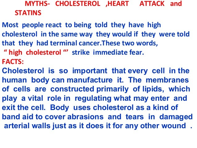 Myths    cholesterol, heart attack and statins