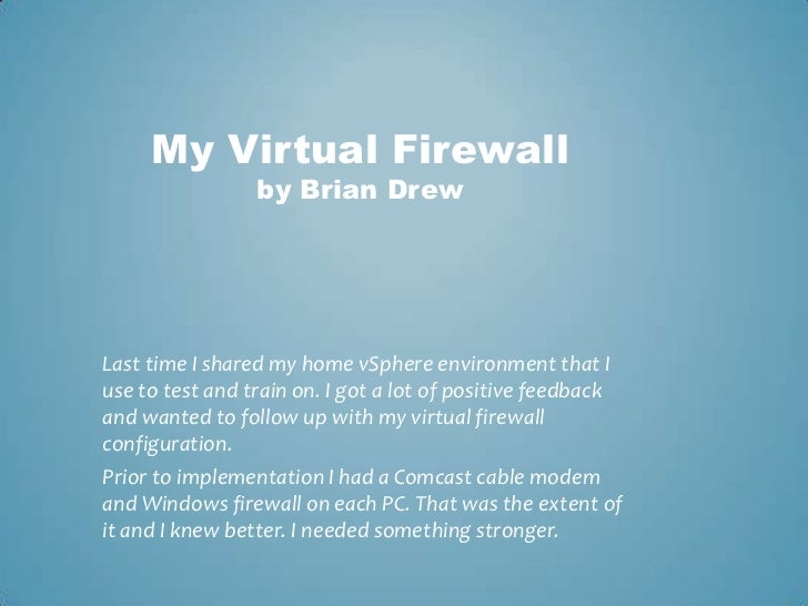 My virtual firewall