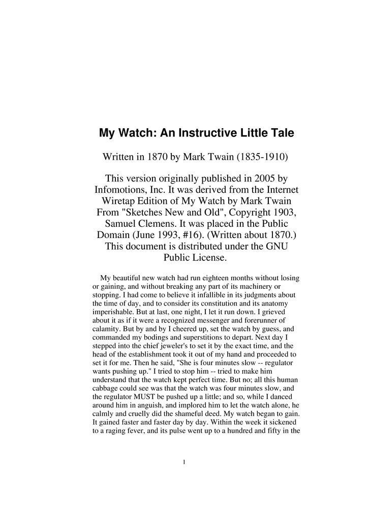 My Watch An Instructive Little Tale