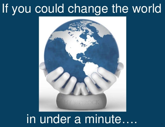 If you could change the world    in under a minute….            Confidential- Do not distribute   1