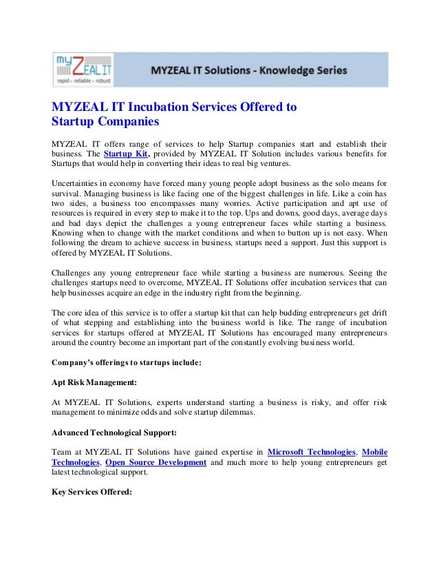 Myzeal it incubation services offered to startup companies