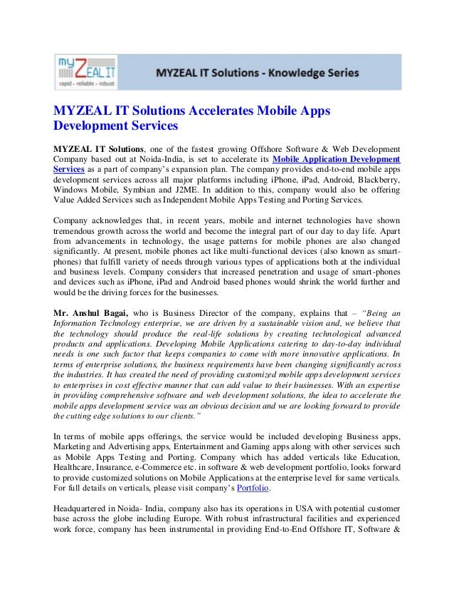 Myzeal it solutions accelerates mobile apps development services