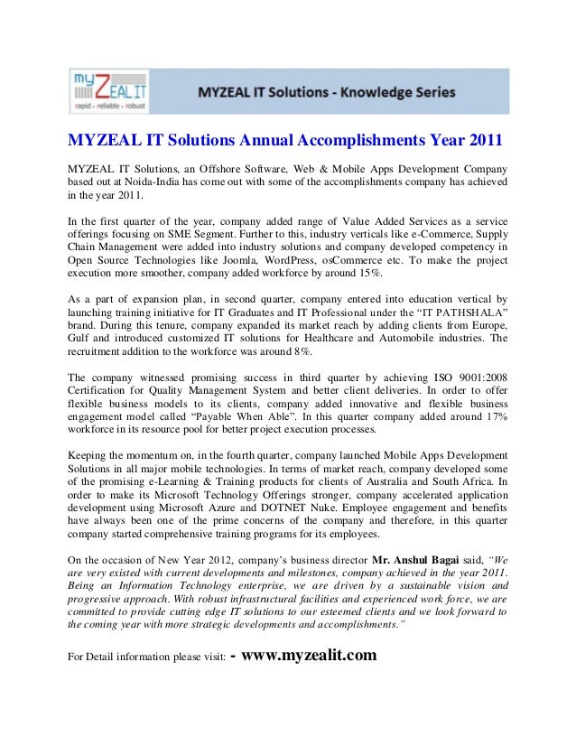MYZEAL IT Solutions Annual Accomplishments Year 2011MYZEAL IT Solutions, an Offshore Software, Web & Mobile Apps Developme...