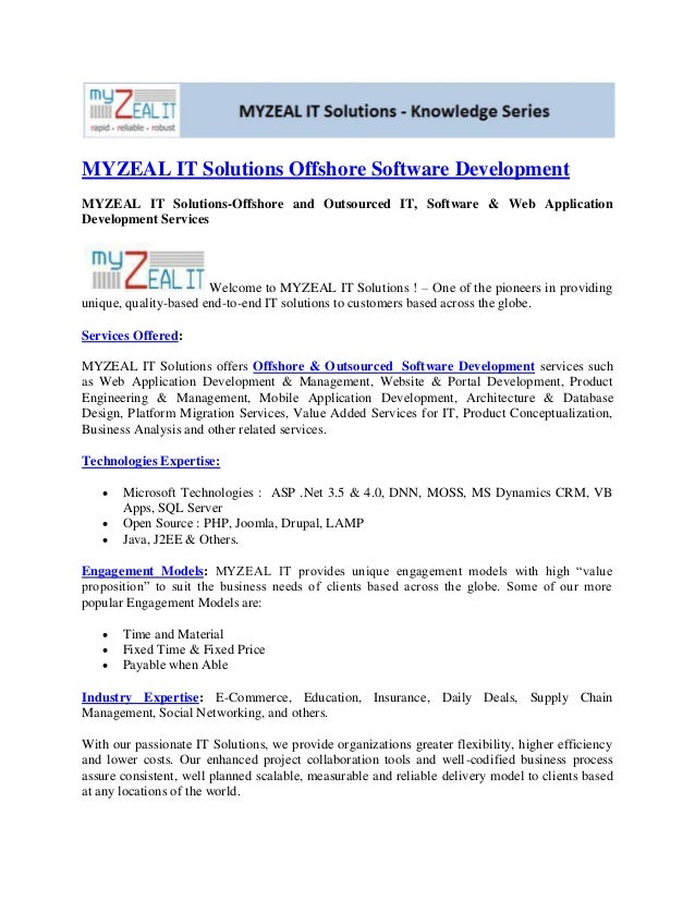 MYZEAL IT Solutions Offshore Software DevelopmentMYZEAL IT Solutions-Offshore and Outsourced IT, Software & Web Applicatio...