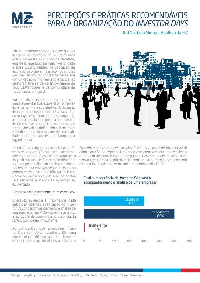 """Artigo """"Percepções e práticas recomendáveis para a organização do Investor Days"""""""